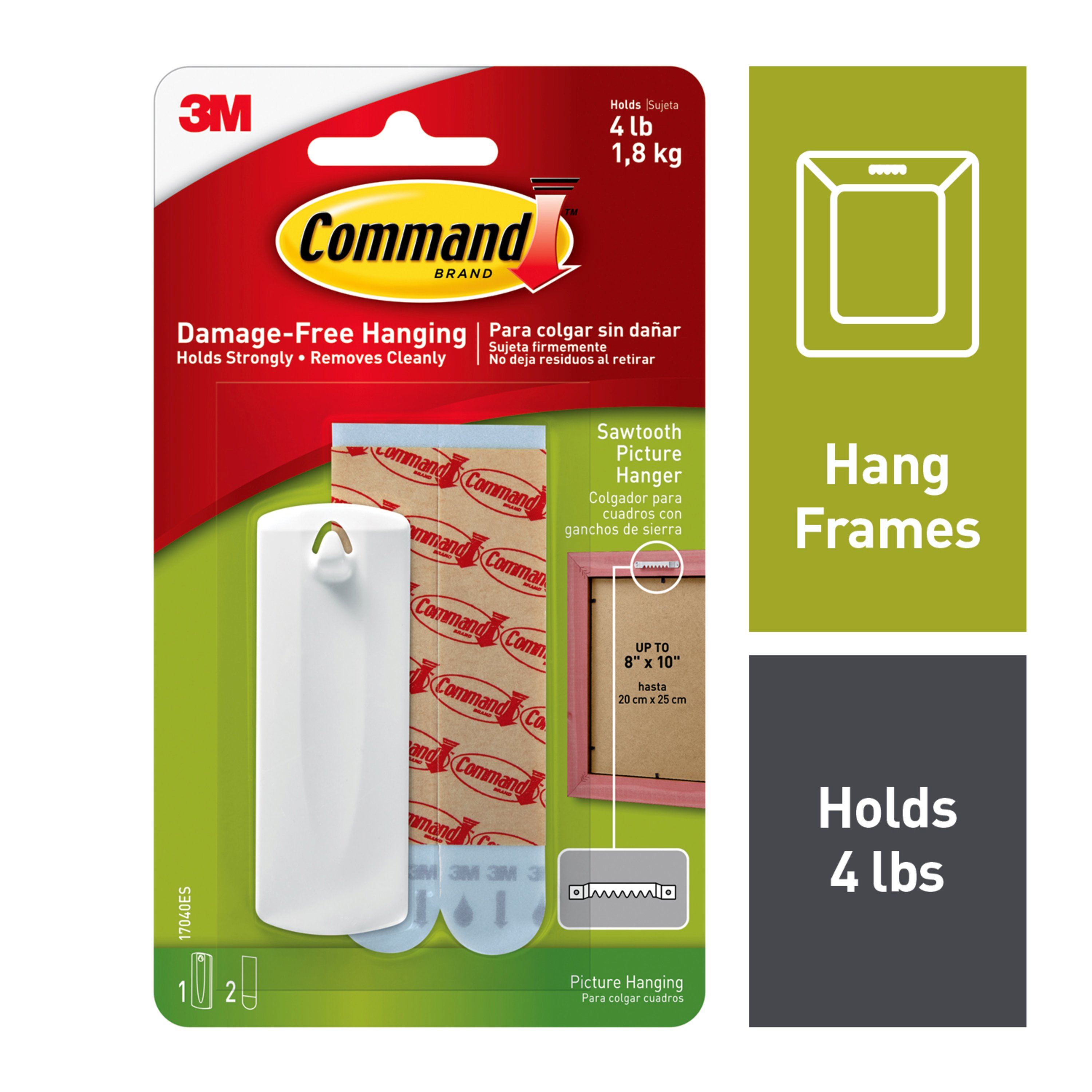 Command Large Sawtooth Picture Hangers White 1 Hanger & 2 Strips