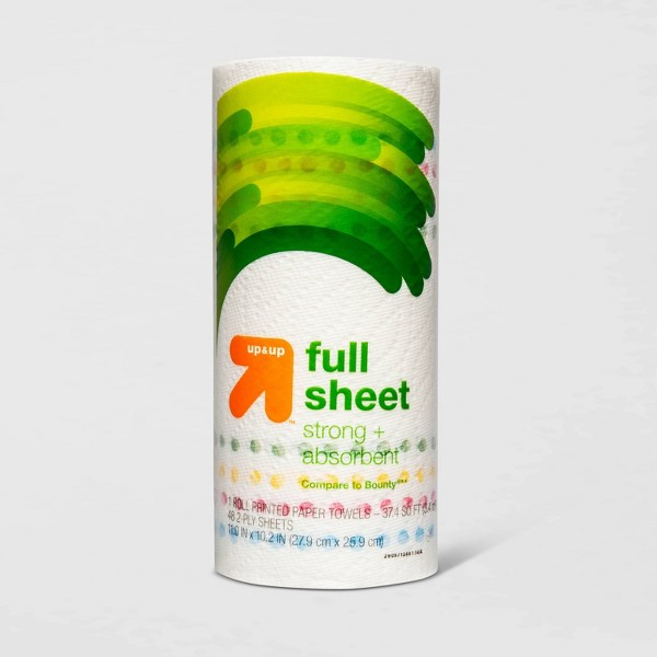 Full Sheet Printed Paper Towels - 1 Roll - Up&Up™