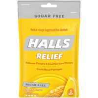 Halls Relief Sugar Free Honey Lemon Cough Suppressant/Oral Anesthetic Drops