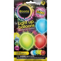illooms Mixed Color Light Up Balloons, 5-Pack