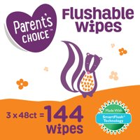 Parent's Choice Flushable Toddler Wipes, 3 pack of 48 (144 count)