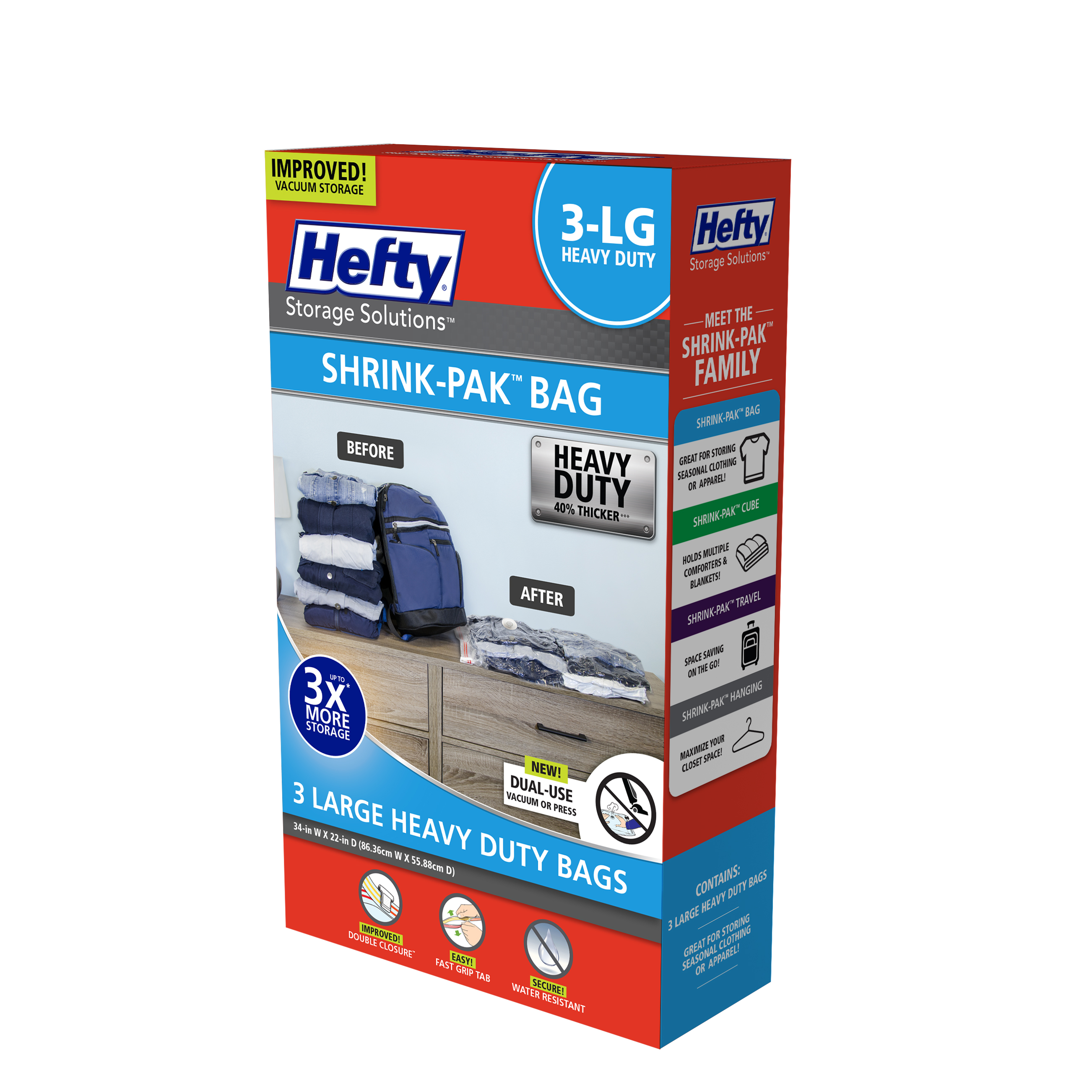 Hefty SHRINK-PAK 3 Large Heavy Duty Bags