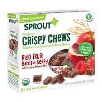 Sprout Organic Crispy Chews Toddler Fruit Snack with Whole Grains Red Fruit Beet & Berry with Crispy Brown Rice