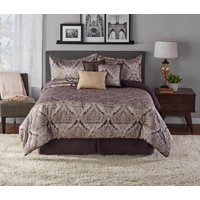 Mainstays Medallion Jacquard Plum 7-Piece Comforter Set