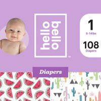 Hello Bello Diapers Club Box - Stuck On You & Watery Melons - Size 1 (108ct)
