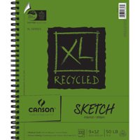 """Canson XL Recycled Paper Sketchpad, 9"""" x 12"""" Spiral Bound Art Paper, 100 Sheet"""