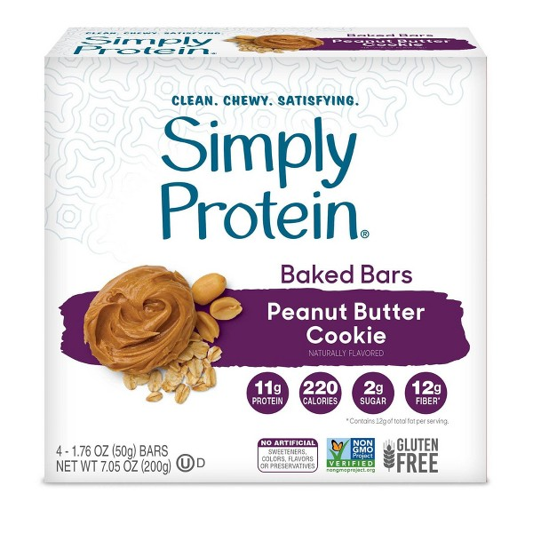 SimplyProtein Baked Bars - Peanut Butter Cookie - 4ct