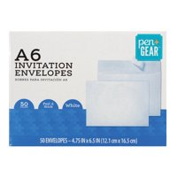 Pen+Gear A6 Invitation Social Envelopes with Self Adhesive Closure, White, 4-3/4 x 6-1/2, 50 per Box (60794)
