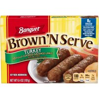 Banquet Brown 'N Serve Turkey Precooked Sausage Links, 6.4 Ounce Box, 10 Count