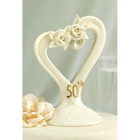 50th Anniversary Pearl Rose Heart Cake Topper