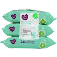 Parent's Choice Fragrance Free Baby Wipes, 3 Flip-Top Packs (240 Total Count)
