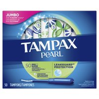 TAMPAX Pearl, Plastic Tampons, Super Absorbency, Unscented, 50 Count