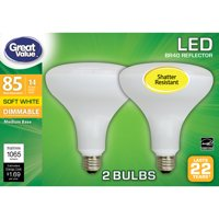 Great Value LED Light Bulb, 14W (85W Equivalent) BR40 Floodlight Lamp E26 Medium Base, Dimmable, Soft White, 2-Pack
