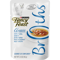 (4 Pack) Fancy Feast Broths Classic With Tuna Shrimp & Whitefish in a Decadent Silky Broth Adult Wet Cat Food Complement - 1.4 oz. Pouch
