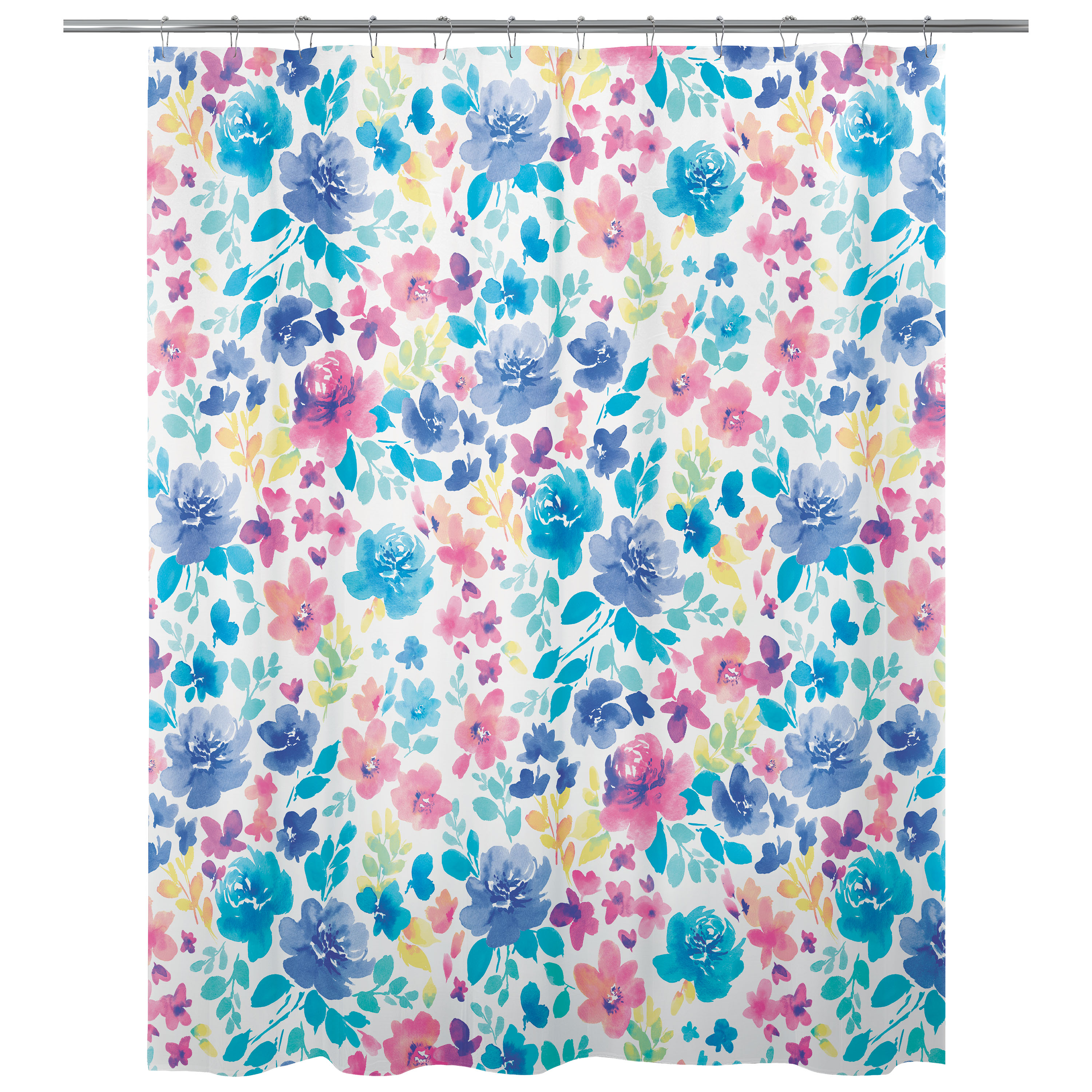 Mainstays Water Floral PEVA Shower Curtain, 70