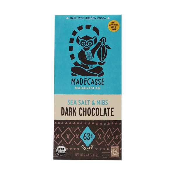 Madecasse Sea Salt & Nibs 63% Dark Chocolate Bar, 2.64 oz