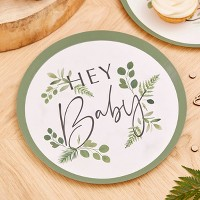 """""""Hey Baby"""" Botanical Paper Plate"""
