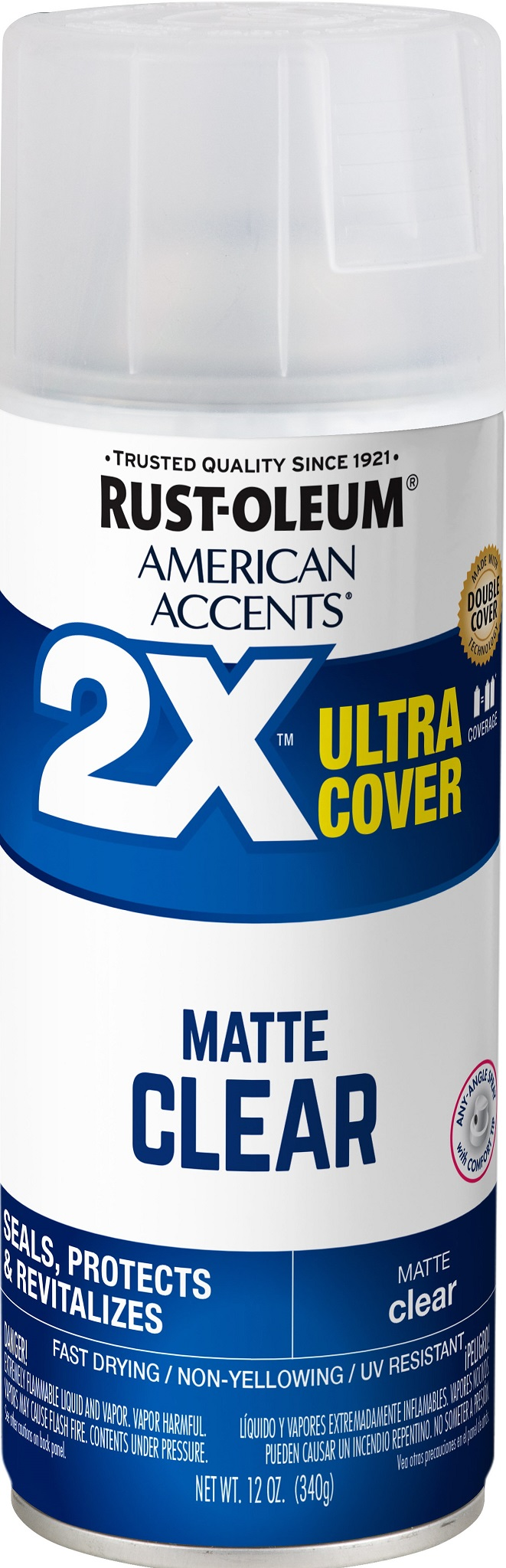(3 Pack) Rust-Oleum American Accents Ultra Cover 2X Matte Clear Spray Paint and Primer in 1, 12 oz