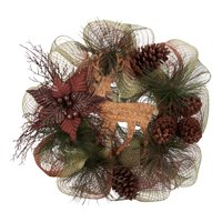 Holiday Time Brown Deer and Poinsettia Leaf Wreath Christmas Decoration, 20