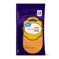 Great Value Deli Style Sliced Mild Cheddar Cheese, 12 count, 8 oz