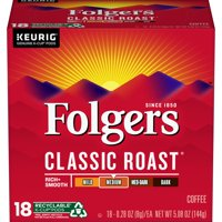Folgers Classic Roast Coffee K-Cup Pods, 18 Count