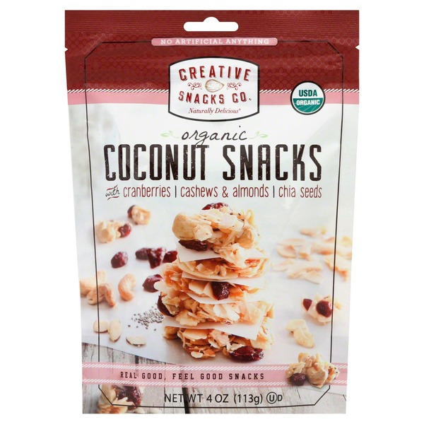 Creative Snacks Co. Coconut Snacks, Organic, with Cranberries, Cashews & Almonds, Chia Seeds