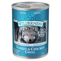 (12 Pack) Blue Buffalo Wilderness High Protein Grain Free, Natural Adult Wet Dog Food, Turkey & Chicken Grill