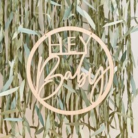 """Hey Baby"" Wooden Hoop Wreath"