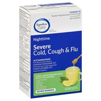 Signature Care Severe Cold, Cough & Flu, Nighttime, Packets, Honey Lemon Infused with White Tea Flavors