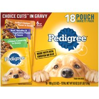 (18 Pack) PEDIGREE CHOICE CUTS in Gravy Adult Wet Dog Food Variety Pack, 3.5 oz. Pouches