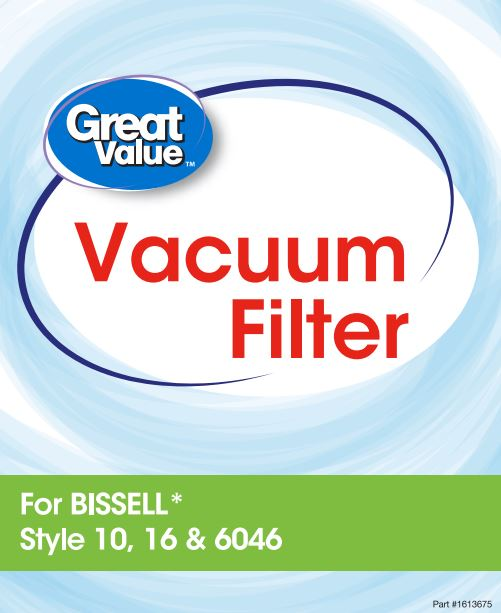 Great Value BISSELL Style 10, 16, & 6046 Vacuum Filter, 1 CT, 2341