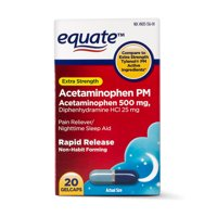 Equate Extra Strength Acetaminophen PM Rapid Release Gelcaps, 500 mg, 20 Ct