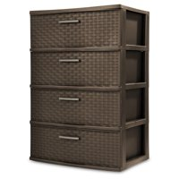 Sterilite, 4 Drawer Wide Weave Tower, Espresso