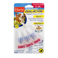 Hartz UltraGuard Dual Action Flea & Tick Topical for Medium Dogs, 3 Monthly Treatments