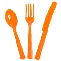 Assorted Plastic Silverware for 8, Tangerine Orange, 24pc