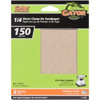 Gator Grit 4.5-Inch X 5.5-Inch 1/4 Sheet Clamp-On Sandpaper, 150 Grit, 6-Pack