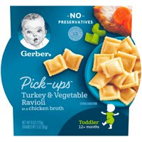 Gerber Pasta Pick-Ups, Turkey and Vegetable Ravioli Packed in Chicken Broth, 6 oz. Tray