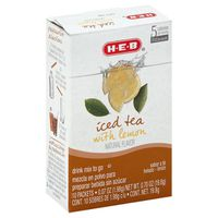 H-e-b Iced Tea With Lemon Flavored Drink Mix To Go Packets