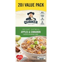 Quaker Instant Oatmeal, Apples & Cinnamon Value Pack, 20 Packets