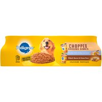 (12 Pack) PEDIGREE Chopped Ground Dinner Combo with Chicken, Liver & Beef and Beef, Bacon & Cheese Flavor Adult Canned Wet Dog Food Variety Pack, 13.2 oz. Cans