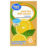 Great Value Sugar-Free Iced Tea with Lemon Drink Mix, 0.7 Oz., 10 Count