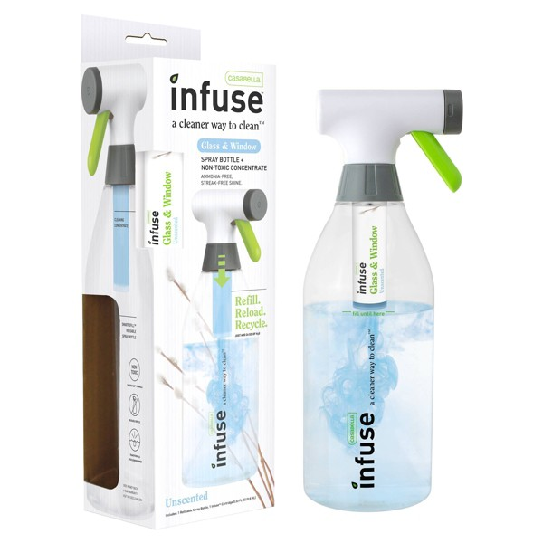 Casabella Infuse Glass & Window Refillable Spray Bottle Cleaning Kit - Unscented