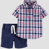 Baby Boys' 2pc Plaid Top & Bottom Set - Just One You® made by carter's Red/Blue