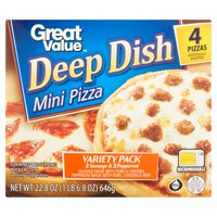 Great Value Pizza, Variety Pack, Deep Dish, Mini, 22.8 oz, 4 Count