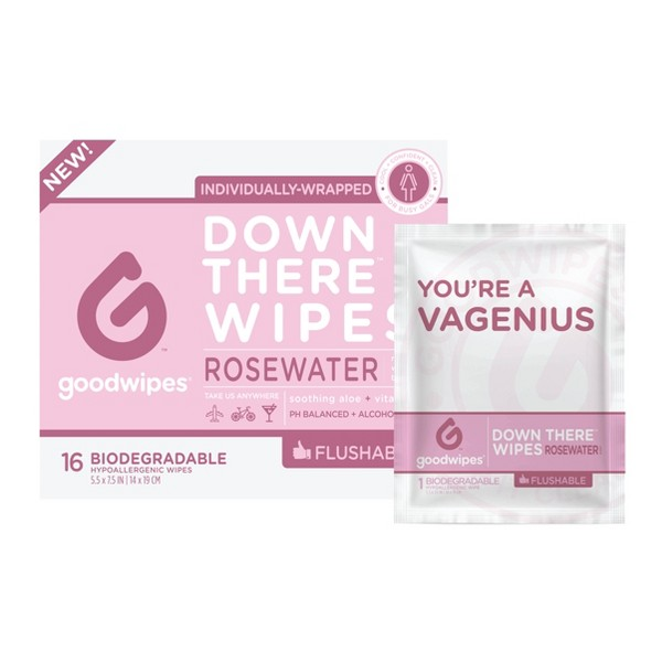 GoodWipes Flushable Down There Rosewater Cleansing Wipes - 16ct