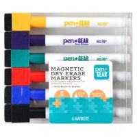 Pen + Gear Magnetic Dry Erase Markers, Built-in Eraser, 6 Count