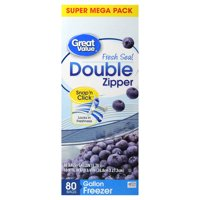 Great Value Double Zipper Freezer Bags, Gallon, 80 Count