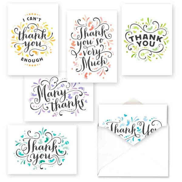 36ct Pretty Baby Thank You Assortment Card Packs
