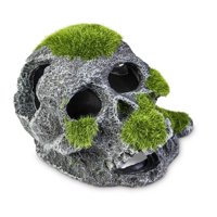 Aqua Culture Mossy Skull Aquarium Decoration, 5""
