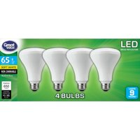 Great Value LED Light Bulb, 8W (65W Equivalent) BR30 Reflector Lamp E26 Medium base, Non-Dimmable, Soft White, 4-Pack